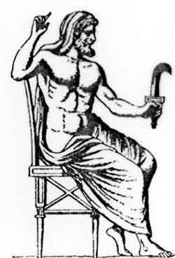Kronos oder Saturn mit der Sichel des Schnitters.