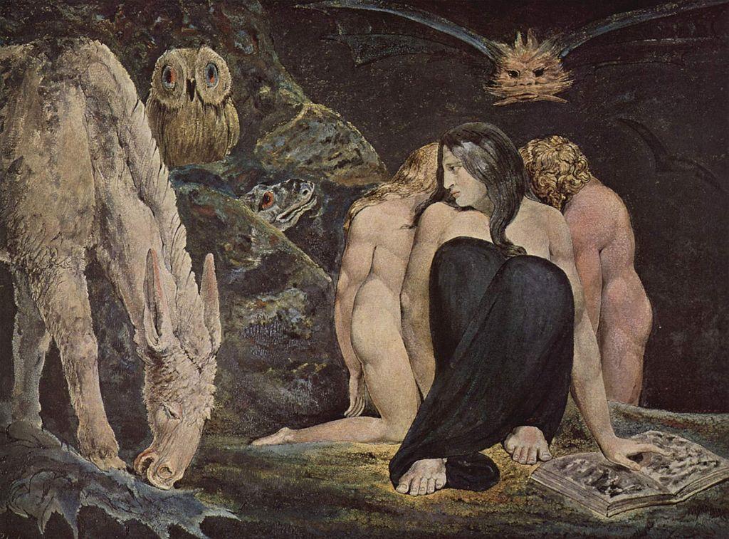 Hekate: William Blake, dreigestaltig mit Esel/Pferd, Uhu und Reptilien.