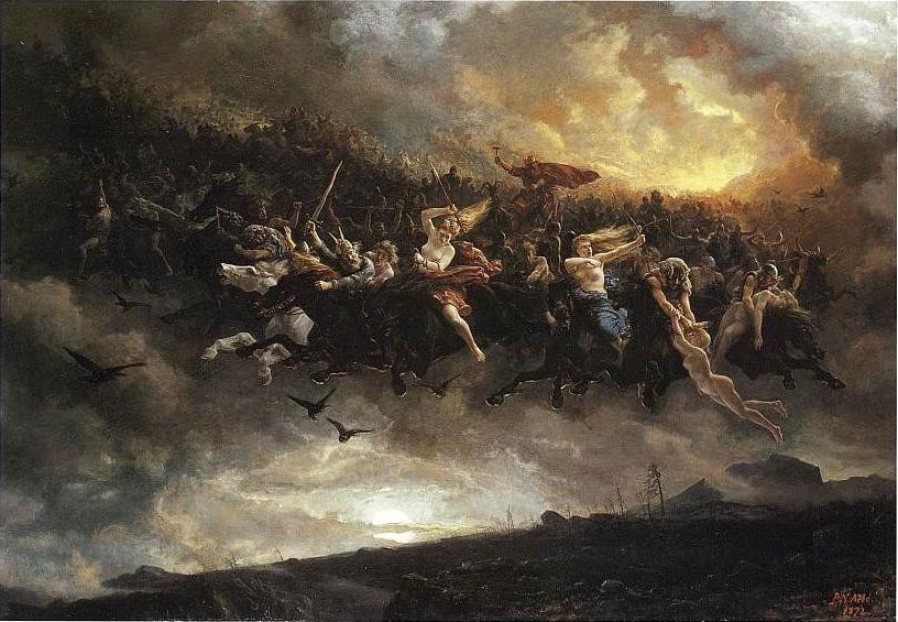 """Åsgårdsreien"" von Peter Nicolai Arbo - http://godsbay.ru/vikings/einherjars.html. Lizenziert unter Gemeinfrei über Wikimedia Commons - https://commons.wikimedia.org/wiki/File:%C3%85sg"