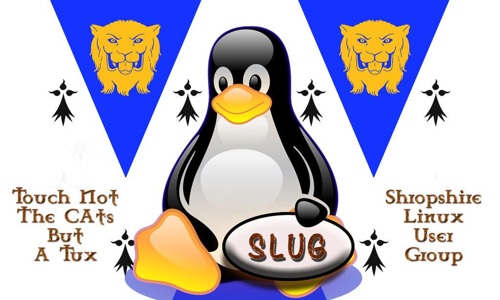 Tux, das Makottchen für Linux, wirbt für einen Linux-Nutzerclub aus UK: SLUG.
