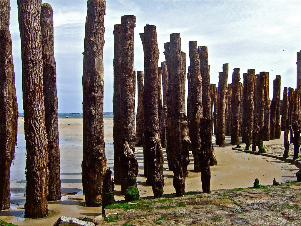 Pylonen aus Holz sind typisch für den Strand. Es gibt sogar ein Gezeitzen-Schwimmbad, das wasser wird bei jedem Tidenwechsel erneuert.