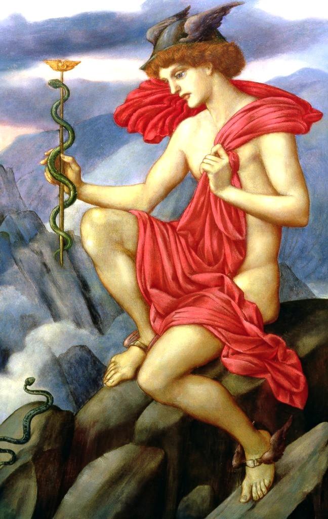 Merkur überredet zwei streitende Schlangen sich auf seinem Caduceus zu vereien.